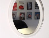 Vintage white cream small Oval Mirror from the 70s