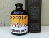 Chocolat Decorative Brown Bottle, Replica Label on Upcycled Small Amber Brown Apothecary Bottle