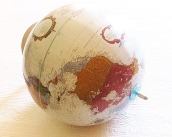 Vintage French Blue Topographic World Globe, Olives and Doves