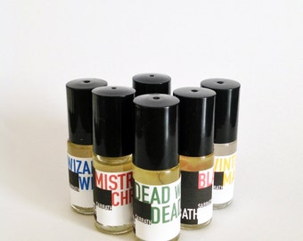 1 dram WINTER PERFUME OILS -  1/8 oz. Roll-On fragrance - choose from 7 different scents! Heavy Metal Holiday!