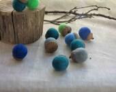 Wool Felt Acorns - Blue & Green
