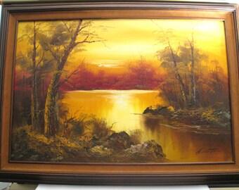 Gordon Whitman Oil Painting ~ Sunset Painting, Landscape Painting, Framed Painting, Red Painting, Nature Painting