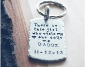 New Dad Customized Gift - There Is This Girl, Who Stole My Heart, She Calls Me Daddy - Daddy Dog Tag Key Chain - There's This Girl Keychain