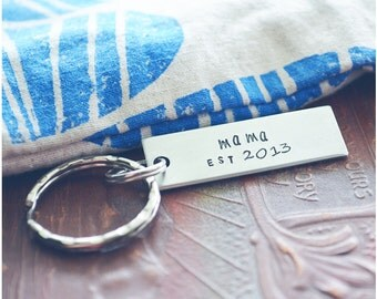 Mommy Since Keychain, Gift for New Mom, Custom Hand Stamped Mama Keychain, Mom Established, Personalized Keyring, Grandma Gift