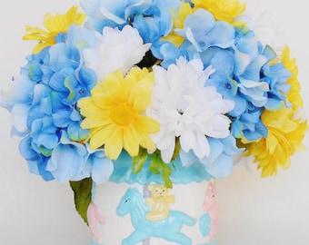 New Baby arrangement, White Mums, Yellow Daisies, Blue Hydrangea, Baby Vase, Artificial Flower Arrangement, Silk Floral Arrangement,