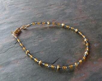Gold and Dark Silver Skinny Bracelet with 14K Gold Filled Clasp, Handmade Stackable Bracelet, Delicate