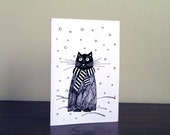 Black cat greeting card Animal card Birthday card Cat carte anniversaire Cats on cards Winter animal Christmas card Black and white cat card