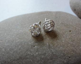 silver plated knot earrings ,wedding jewelry,silver knot earring,silver wire knot earrings