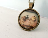 Photo Chicken Pendant Necklace of Two Chickens in Wedding Top Hat And Veil Chicks in Hats Baby Animals Wedding