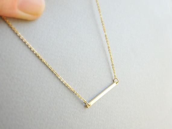 bar necklace gold bar necklace thin horizontal bar necklace. Black Bedroom Furniture Sets. Home Design Ideas