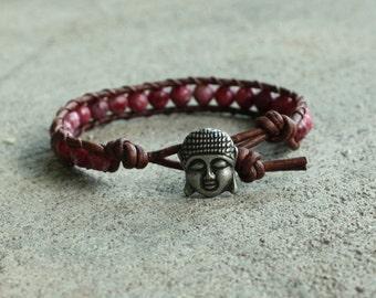 pink buddha beaded leather wrap bracelet lepidolite yoga stacking band