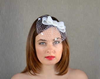 Bridal Fascinator with Bow and Birdcage Veil - Bridal Hairclip