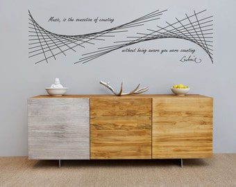Science art - 6.5' wide Leibniz  quote & Xenakis mathematics of music  extra large wall decal for school and university decor (ID: 121067)