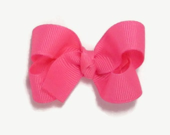 Neon Pink Hair Bow, Bright Pink Hair Bow, 2 Inch Hair Bow, Baby Girl Hair Bow, Solid Color Boutique Bow on Alligator Clip Barrette, 200