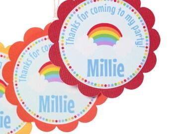 Rainbow Thank You Tags - Rainbow Party Favors - Rainbow Party Decor