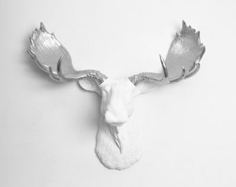 Faux Moose Head - The Adobe - Resin Moose Head W/ Silver Antlers - Chic Animal Wall Sculptures & 3D Home Decor by White Faux Taxidermy