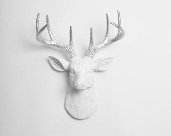 Deer Head Decor | The MINI Frankfurt Wall Art - White W/ Silver Antlers Resin Deer Head- Stag Decor & Animal Heads by White Faux Taxidermy