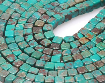 98 pcs 4x4mm Genuine Chinese Natural Turquoise Loose Spacer Cube Beads (BH5610)