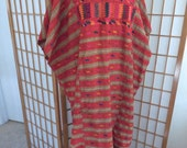 Vintage Mexican Dress Ethnic Textile Tunic Hand Woven Hand Sewn and Embroidered