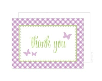 Butterfly Thank You Cards (Butterfly Folded Note Card, Purple Butterfly Thank You Card, Baby Shower Thank You, Butterfly Notecard)