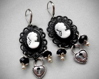 Goth Earrings Black Cameo Earrings Gothic Lolita Earrings Goth Creepy Cute