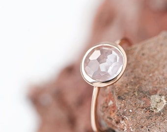Rosé Gold Ring With Facetted Rose Quartz Drop, filigree gold ring, delicate ring, dainty, stackable,friendship ring, bestseller, Mothers Day