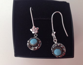 Unique item: Earrings made from antique tiny cut-steel buttons with turquoise