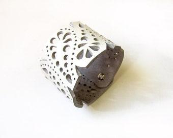 Leather bracelet, Whiteleather lace bracelet, ALL SIZES