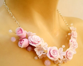 Wedding Necklace, Flower Necklace, Romantic Necklace, Pink Necklace, Statement Necklace, Pink Roses, Handmade Necklace, Wedding Jewelry