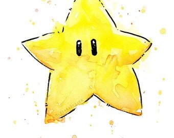 Mario Invincibility Star Watercolor Art Print, Geek Videogame Nintendo Supermario Decor