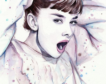 Audrey Hepburn Watercolor Painting, Audrey Watercolor, Audrey Hepburn Wall  Art, Audrey Hepburn Decor