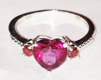 Mystic Topaz & Garnet Ring Heart Shaped Ring Handmade Jewelry