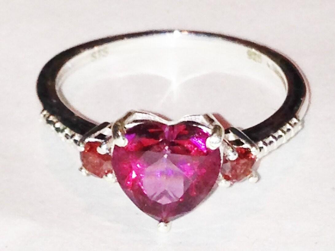 mystic topaz amp garnet ring heart shaped ring handmade jewelry