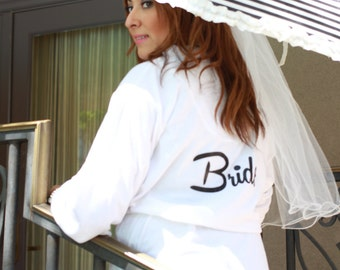 White Bride Robe Bridesmaid Gift lightweight Terry Cloth Robe with Glitter design Personalized Bridesmaid Robes in 6 different colors