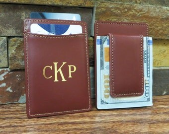 Monogrammed Leather Wallet w/ Money Clip - Monogram Wallet - Personalized - Groomsmen Gift - Gifts for Men-Brown, Christmas Gift