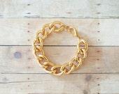 Chunky Gold Chain Bracelet, Plain Gold Link Bracelet