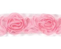 """Pink ROSE RIBBON - 1.5"""" Rose Ribbon - Rose Trim - Rossette Ribbon - Pink Rose Trim - Pink Floral Ribbon"""