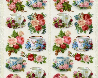 TEA STICKERS, Tea Cup Stickers, Tea Party Stickers, Victorian Tea Stickers, Violette Stickers, Victorian Tea, Violette Tea, Tea Party