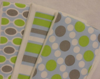 Burp Cloth Set of 3-Handmade-Blue, Green & Gray-Stripe, Dots, Ovals-Super Absorbent--Great Baby Shower Gift