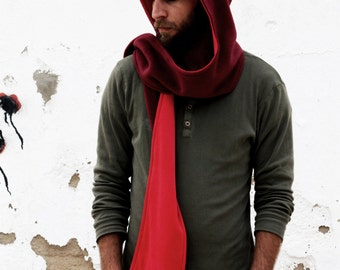 Nomad Hooded Scarf. Warm & Snug Reversible Hoodie. Long Scarf With Big Hood In Dark Red Fleece And Red Velvet,