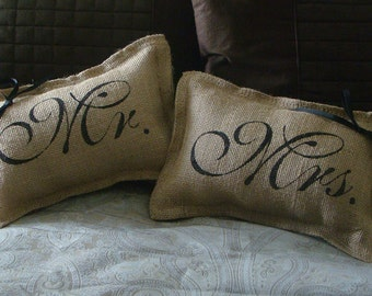 Set of 2 Burlap Mr. and Mrs. Wedding Pillows With Bows