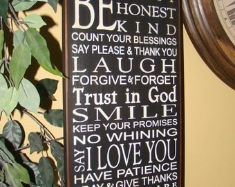 PERSONALIZED Be Kind Honest Happy Family Rules Subway Typography Word Art Primitive Sign