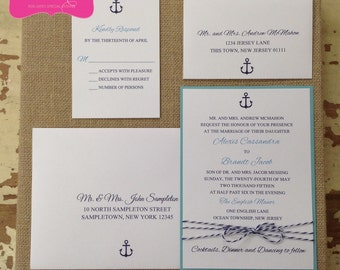 NAUTICAL Wedding Invitations with Baker's Twine - Personalized choose your paper color, ink color, fonts, motif