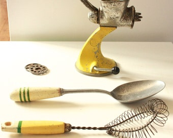 Vintage Yellow Kitchen Utensils Made In England