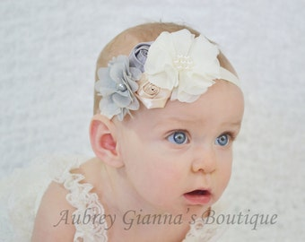 Baby Headband, Grey, ivory, beige headband, newborn headband, baby hair bow, baby infant headbands, newborn photo prop, baby accessories