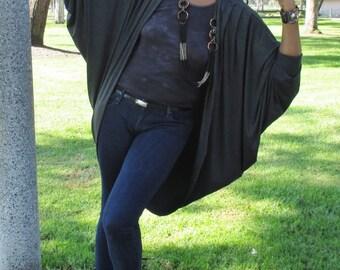 Poncho Cardigan, Drapery Bat Wing Knit Open Front Drape Jacket - Wine - All Sizes / Colors