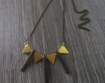 Geometric bib necklace. Triangle brass metal with brown ceramic necklace. Brass Necklace. Long pendant necklace.