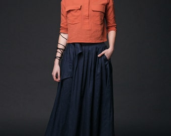 Blue Maxi Linen Skirt - Navy Long Modern Comfortable Casual Everyday Woman's Skirt with Self-Tie Belt and Pockets C518