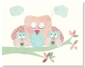 Baby Girl Nursery Prints, Twin Girls Nursery Art Print, Peach, Pastel Nursery Wall Decor, Pink and Blue, Aqua, French Nursery, Owl, Twins