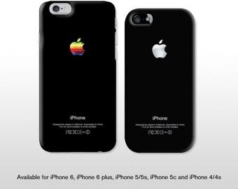 iPhone 6s vintage black case. Retro rainbow Apple logo & graphics for iPhone 4, iPhone 5 - FP118